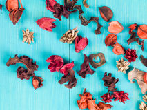 Colorful Scented Potpourri Room Decorations. On a Blue Background royalty free stock image