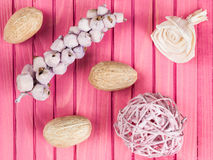 Colorful Scented Potpourri Room Decorations. Colorful Scented Potpourri on a Pink Background stock photo
