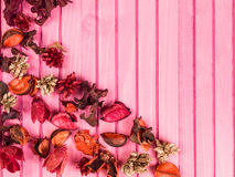 Colorful Scented Potpourri Room Decorations. Colorful Scented Potpourri on a Pink Background royalty free stock photo