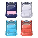 Colorful school backpacks. Back to school. Rucksack for school, study, travel, hiking and work. Haversack, knapsack. Schoolbag, luggage and baggage. Vector Royalty Free Stock Images