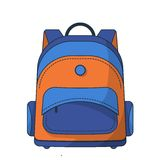 Colorful school bag. Vector illustration isolated on the white background Royalty Free Stock Photography