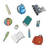 Colorful School Carton Items Stock Image