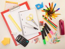 Colorful school or college equipment. Education, office and creative concept royalty free stock photo