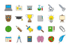 Colorful school elements  icons set. Set of 24 Colorful school elements  icons Stock Photo