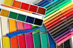 Colorful school items Royalty Free Stock Photos