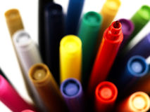 Colorful school markers closely. Royalty Free Stock Photography