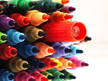 Colorful school markers closely. Stock Photography