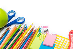 Colorful school and office supplies isolated on white royalty free stock images