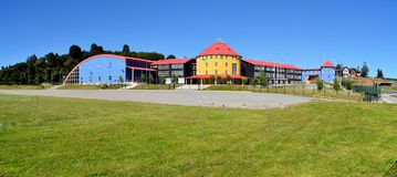 Colorful school in Puerto Varas, Chile. Colorful school with a modern architecture in Puerto Varas, Patagonia, Chile royalty free stock photo