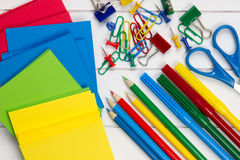 Colorful school requisites on a desk Stock Photography