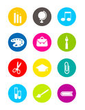 Colorful school rounded icons. Isolated collection of colorful rounded school icons Stock Photos
