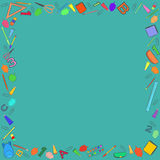 Colorful School Stuff Making a Frame. Colorful School Stuff Hand Drawn Digitally  Making a Frame on the Turquoise Background with Copyspace in the Center. Vector Stock Images