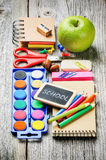 Colorful school supplies Royalty Free Stock Image