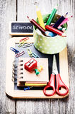 Colorful school supplies Stock Photo