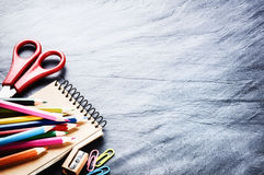 Colorful school supplies. Back to school concept with copyspace Royalty Free Stock Photos
