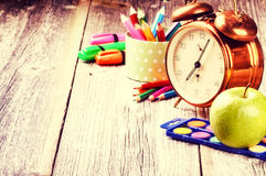 Colorful school supplies. Back to school concept Stock Photos