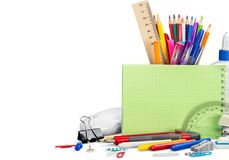 Colorful school supplies on background royalty free stock photography