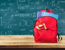 Colorful school supplies  in backpack on. Back school backpack back to school art objects school background color Royalty Free Stock Images