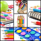 Colorful school supplies. Collage Royalty Free Stock Photography