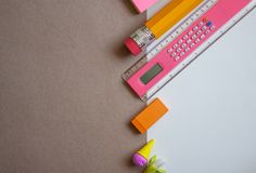 Colorful school supplies stock photography