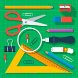 Colorful school supplies flat design Stock Photos