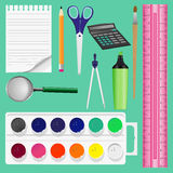 Colorful school supplies,  illustration. Royalty Free Stock Photo