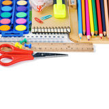 Colorful school supplies. Isolated over white Stock Images