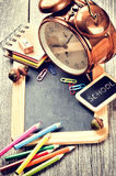 Colorful school supplies in retro style Stock Image