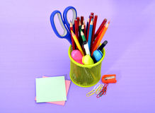 Colorful School Supplies Stationery in Basket Stock Image