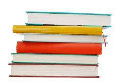 Colorful school textbooks. School books collection pile is ready for studying Stock Image