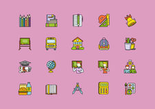 Colorful School Thin Lines Outline Stroke Icons. Set of colorful school thin, lines, outline, strokes icons. Items for school study, pencil, bag, breakfast Royalty Free Stock Image
