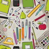 Colorful school tools seamless pattern Royalty Free Stock Photos