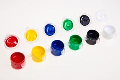Colorful school water paints. Royalty Free Stock Image