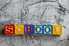 Colorful School word from wooden blocks Stock Photography