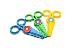 Colorful of scissor on white background Royalty Free Stock Images