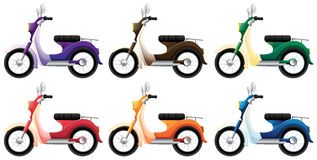 Colorful scooters. Illustration of the colorful scooters on a white background Stock Photography