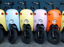 Colorful Scooters for Rent Royalty Free Stock Photo