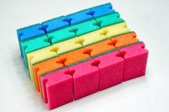 Colorful scouring sponges isolated Royalty Free Stock Image