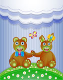Colorful scrapbook with bunny and bear. Stock Image
