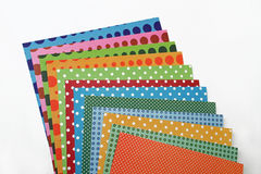Colorful scrapbooking paper sheets stock photography