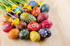 Colorful scratched handmade Easter eggs Stock Photos