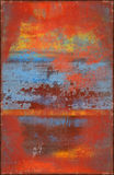 Colorful Scratched Texture with Rusty Seams Along Edges Stock Image