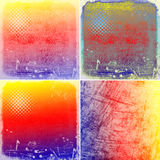 Colorful scratched vintage backgrounds Stock Photos