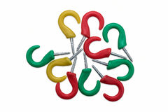 Colorful Screw Hooks Royalty Free Stock Photography