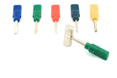 Colorful screwdriver with hammer. Colorful small screwdriver and a hammer use for minor repair with white background Stock Photos