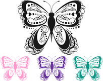 Colorful Scroll Butterfly. Multiple Color Scroll Butterfly in Vector Format stock illustration
