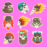 Colorful Scull Stickers With War And Biker Culture Attributes Set Of Vector Icons. Collection Of Creepy Dead Head Prints Cool Cartoon Illustrations Royalty Free Stock Photography