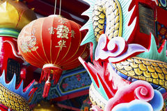 Colorful sculpture arts in Chinese temple Royalty Free Stock Image