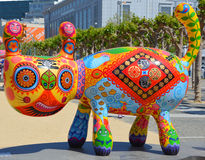 Colorful scuplture. SAN FRANCISCO CA USA APRIL 14 2015: Colorful scuplture by Hung Yi was officially unveiled in San Francisco's Civic Center. It features 19 Stock Photo