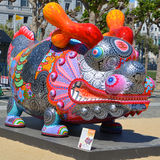 Colorful scuplture. SAN FRANCISCO CA USA APRIL 14 2015: Colorful scuplture by Hung Yi was officially unveiled in San Francisco's Civic Center. It features 19 Royalty Free Stock Photo